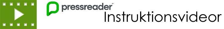 PressReaders logotyp med texten: instruktionsvideor